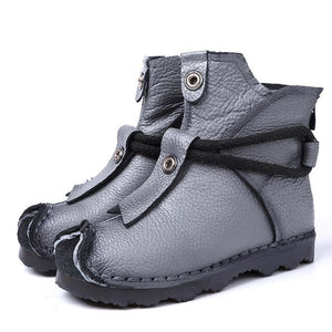 Women's New Leather High Boots Ankle Boots Fashion Women's Boots New Short Boots Winter Purple Gray Flat Boots Women women shoes
