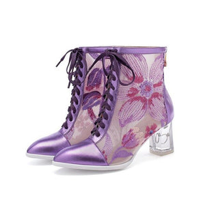 YourSeason Women Genuine Leather Purple Sandals Boots Pointed Toe Crystal High Heels Ladies Zip Bling Floral Mesh Party Shoes