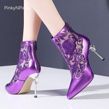 Load image into Gallery viewer, genuine cow leather hollow embroidered pointed toe crystal high heels ankle boots woman zipper purple bright casual shoes female