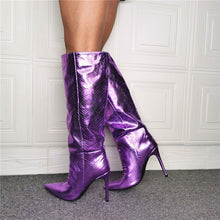 Load image into Gallery viewer, High Quality Sexy Winter Boots Women Knee High Boots New Purple Knee Pointed Toe Boot Women High Heels Retro Knight Boots