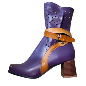Women Winter purple leather Hallow Med Heels short Boots Flower Retro Belt Buckle Shoes Ladies Soft Comfortable Retro boot