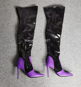 New Purple Black Leather Women Long Boots Fashion Pointed Toe Mixed Color Real Photos Over the Knee Thigh High Boots Lady Winter