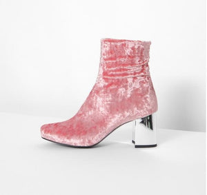 Dramatic Women Velvet Ankle Boots Silver Heel Pink Grey Army Green Leather & Velvet Lining Chunky High Heel Shoes Women
