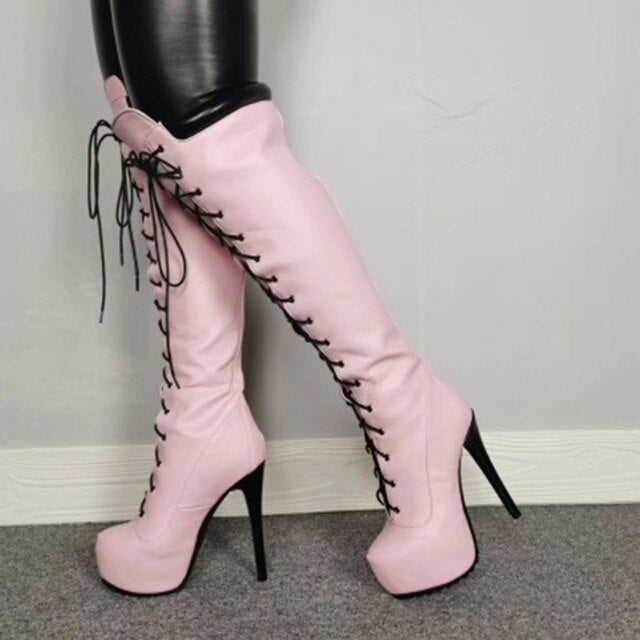 Pink Sexy Over-the-knee Boots Warm Women Boots Platform Women Shoes High Heels Slim Thigh High Boots Female Winter Boots Size 47