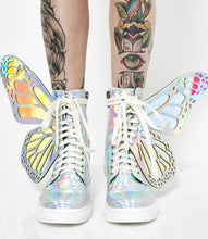 Load image into Gallery viewer, Laser Sliver Black Pink Girls Big Butterfly Wings Decoration Round Toe Zipper Lace Up High Top Sneakers Flat Short Boots Woman