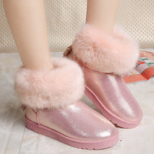 Load image into Gallery viewer, Classic Hot Women Boots Winter Warm Fur Snow Boots Flat Slip On Waterproof Tassel Black Women Shoes Pink Ankle Boots Leather