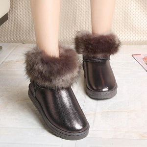 Classic Hot Women Boots Winter Warm Fur Snow Boots Flat Slip On Waterproof Tassel Black Women Shoes Pink Ankle Boots Leather