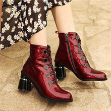 Load image into Gallery viewer, Meotina Real Leather High Heel Ankle Boots Women Shoes Button Block Heels Zipper Lady Short Boots Autumn Winter Wine Red Size 42