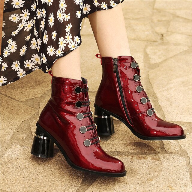 Meotina Real Leather High Heel Ankle Boots Women Shoes Button Block Heels Zipper Lady Short Boots Autumn Winter Wine Red Size 42