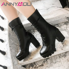 Load image into Gallery viewer, ANNYMOLI Winter Mid Calf Boots Women PU Leather Platform Square Heel Boots Lace Up Extreme High Heel Shoes Ladies Fall Red 34-43