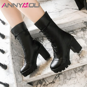 ANNYMOLI Winter Mid Calf Boots Women PU Leather Platform Square Heel Boots Lace Up Extreme High Heel Shoes Ladies Fall Red 34-43
