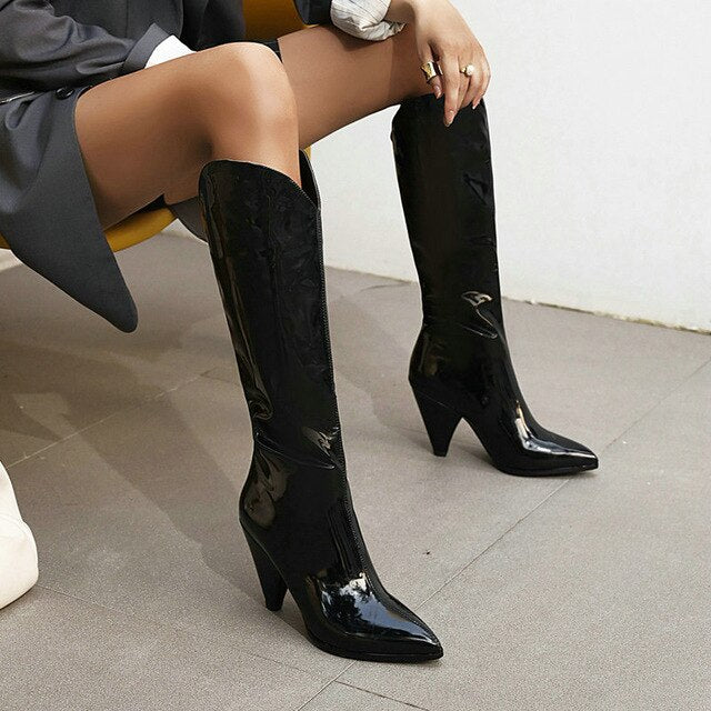Rose Red Orange Yellow Black Women Knee High Boots Spike High Heel Slip on Ladies Boots Patent PU Leather Pointed Toe Boots