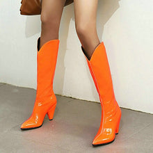 Load image into Gallery viewer, Rose Red Orange Yellow Black Women Knee High Boots Spike High Heel Slip on Ladies Boots Patent PU Leather Pointed Toe Boots