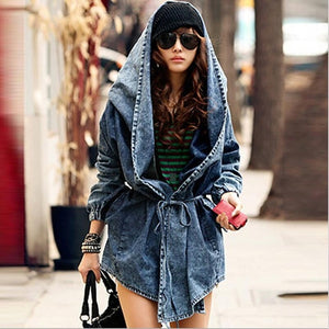 New Girl's Denim Jackets Oversized Hoodie Hooded Outerwear Jean Wind Jacket Fashion Design Denim Women Coat