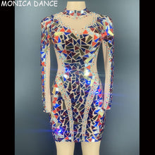 Load image into Gallery viewer, Sexy Stage Flashing Multi-color Rhinestones Mirror Transparent Short Dress Birthday Celebrate Outfit Women Dancer Sequin Dress