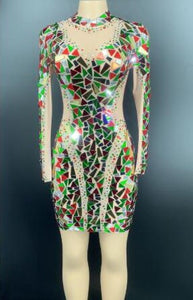 Sexy Stage Flashing Multi-color Rhinestones Mirror Transparent Short Dress Birthday Celebrate Outfit Women Dancer Sequin Dress