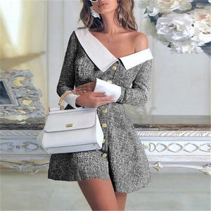 2020 Spring Women Turn-down Collar Buttoned Mini Dress Ladies Long Sleeve Bodycon Party Formal Dress England Button Clothes