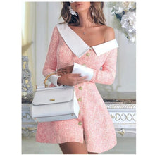Load image into Gallery viewer, 2020 Spring Women Turn-down Collar Buttoned Mini Dress Ladies Long Sleeve Bodycon Party Formal Dress England Button Clothes