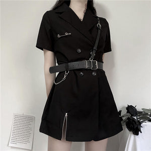 Japan Blazer Dress Women Black Sexy Mini Dress 2020 High Waist Harajuku Goth Girl Zipper Punk With PU Leather Belt Female Dress