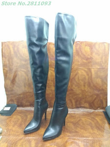 Black Leather Thigh High Boots Sexy Pointed Toe Thin High Heel Shoes Matte Leather Metal Zipper Over The Knee Custom Made Boots