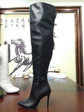 Load image into Gallery viewer, Black Leather Thigh High Boots Sexy Pointed Toe Thin High Heel Shoes Matte Leather Metal Zipper Over The Knee Custom Made Boots