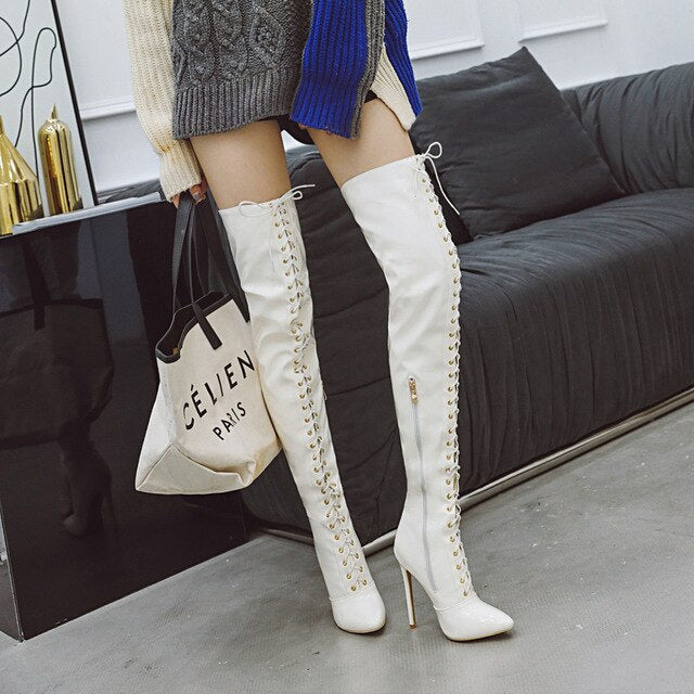 women over-the-knee boots plus size 22-28 cm European and American super high heel long boots black boots red boots white boots