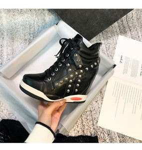 Womens Pointed Toe PU Leather Rivet Studed Lace Up Sneaker Hidden Wedge Heel Shoes High Top Boots Black White Punk SONDR