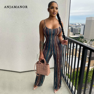 ANJAMANOR Striped Print Palazzo Jumpsuit Wide Leg Pants Fall Clothes for Women 2020 Fashion Sexy One Piece Outfit D89-CC29