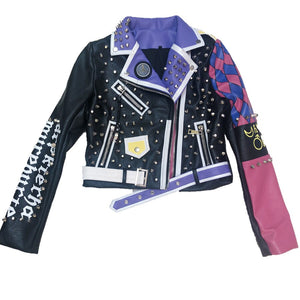 Purple rose color faux Leather Jacket Women springTurn-down collar Punk Rock rivets r Jackets Ladies Outwear coats
