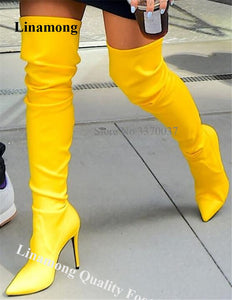 Sexy Women Shining Yellow Stiletto Heel Over Knee Boots Charming Slim Style Long High Heel Boots Evening Dress Heels Shoes
