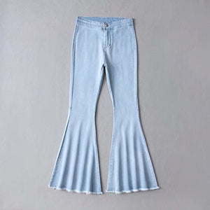 Women New Autumn Winter High Waist Jeans Mom Stretch Female Flare Jeans For Women Wash Denim Plus Size Wide Leg Skinny Jeans