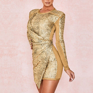 Adyce 2020 New Autumn Women Gold Sequins Long Sleeve Mini Dress Sexy O Neck Fashion Club Celebrity Evening Runway Party Dresses