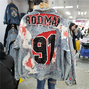 Village Ripped Jeans Jackets Women Spring Autumn New Street Wear Graffiti Printing Sequins Loose Jeans Coat Female Denim Coats