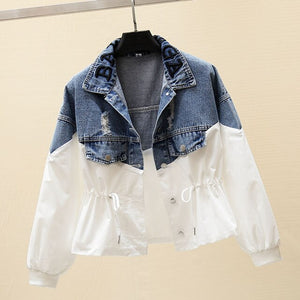 2020 Autumn New Women Denim Jacket Loose Windbreaker Female Students Patchwork Jackets Casual Short Jeans Coats Outwear P750
