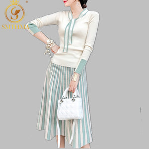 SMTHMA 2020 New Autumn Spring Women Elegant Sweater Pullover + Pleated Skirt 2 Piece Set Shiny Knitted Midi Dress Slim Suit
