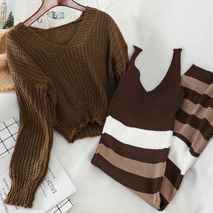 Korean knitted Skirt Suit Women 2020 Autumn  Short V-neck Pullover Sweater + Striped slim Sexy mid-length split Dress Two-piece