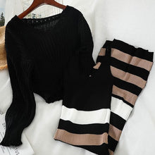Load image into Gallery viewer, Korean knitted Skirt Suit Women 2020 Autumn  Short V-neck Pullover Sweater + Striped slim Sexy mid-length split Dress Two-piece