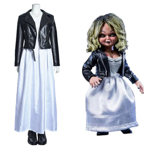 Bride of Chucky Cosplay Costumes Long Dress Outfits Halloween Carnival Suit