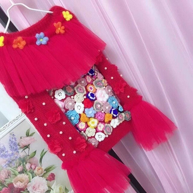 New Autumn and Winter Clothes Sweet Pearl Beaded Mesh Stitching Flower Off Shoulder Sweater Girls Red Knitted Sweater Jumpers