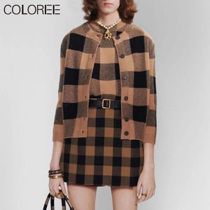 Runway Classic Plaid Knitted Sweater Women 2020 Autumn Winter  high street long sleeve pullover jumper clothes mujer