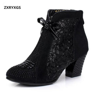 HOT 2019 New Summer Black Cow Leather Women Boots Fashion Rhinestone Ankle Boots Comfort Non-slip Warm Winter Boots Women Shoes