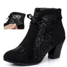 Load image into Gallery viewer, HOT 2019 New Summer Black Cow Leather Women Boots Fashion Rhinestone Ankle Boots Comfort Non-slip Warm Winter Boots Women Shoes