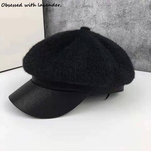 Obsessed with lavender.Octagon Hat Knitted Black Fall/Winter Female Korean English PU Leather Hat Personality Newsboy Hat Tide
