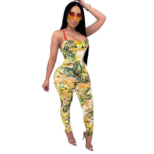 Hot sales in Europe and the United States sexy fashion women's printed slim belt jumpsuit backless nightclub jumpsuit pant