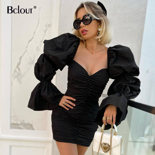 Bclout Black Puff Sleeve Chic Pencil Dress 2021 Woman Pleated Square Collar Sexy Short Dresses Elegant Party Slim Polyester Robe