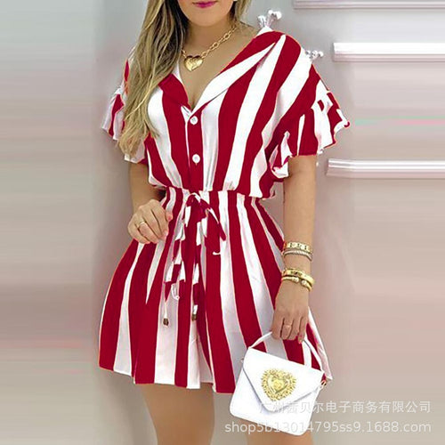 WEPBEL Black Stripes Fitted Waist Shirt Dresses Fashion Women Shirts Dress Shorts Sleeve Slim Fit Mini Dresses Female Sexy Dress