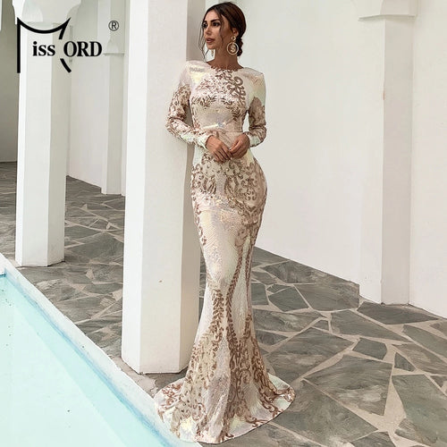 Missord 2021 Women Sexy O Neck Long Sleeve Backless Sequin Dresses Female Bodycon Maxi Dress Multi Evening Party Dress FT19747-1