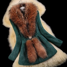 Load image into Gallery viewer, Autumn Ladies' Nature Rabbit Fur Coat Jacket Raccoon Fur Collar Winter Women Fur Trench Outerwear Coats Plus Size 4XL 5XL VK2217