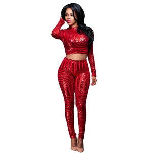 Night Club Two Pieces Jumpsuit Bodysuit For Women Flash Elegant Party Jumpsuit Sequin Bodysuit Women Cropped Overalls Plus Size