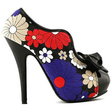 Load image into Gallery viewer, LF30447 New Sexy 60s Bow Multi color Floral Print Hidden Platform High Heel Ankle Boots